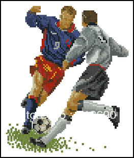 handmade Cross Stitch -  Football ground