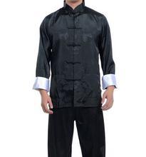 Free Shipping New Black Chinese men's silk kung fu suit pajamas SZ: M L XL 2XL 3XL(China (Mainland))
