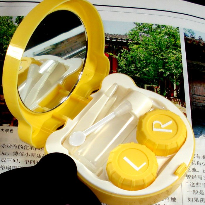 Free Shipping 5pcs/lot Animal Contact Lens Case animal Lenses Box/Color Cute Contact lens case for GEO lenses wholesale(China (Mainland))
