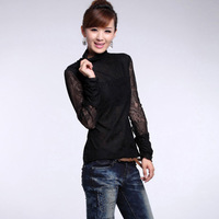 2013 spring sweet gentlewomen turtleneck slim long-sleeve lace basic shirt women's top