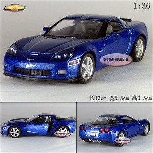 New 1:36 Chevrolet 2007 CORVETTE Z06 Alloy Diecast Model Car Blue B386