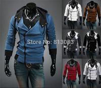 2014 Stylish Jacket For Men Hoodies And Sweatshirts Fit Slim Hoodies Slant Zip Patchwork Color US Size XS,S,M,L