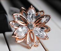 Accessories white gem bling rhinestone Women gold plated ring finger ring