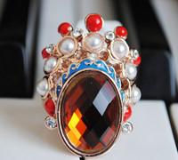 Accessories national trend peking opera bling rhinestone Women gold plated ring finger ring