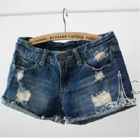 2015 fashion all match distrressed hole cuffs hole women's girls' leisure denim jeans shorts,free shipping
