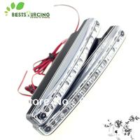 1 Pair 12V 5W 8 LED White Car LED Guiding DRL Daytime Running LED Light