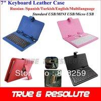 "Pink Red Black Blue White Multilanguage 7"" Tablet Keyboard Russian Leather Case Mini USB Micro USB Standard USB"