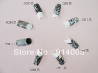 D series lace full nail water sticker white&black color mixed water decal 4 in 1package