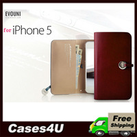 EVOUNI High Quality Genuine Leather Arc Wallet Case for iPhone 5 5G  + Free Shipping