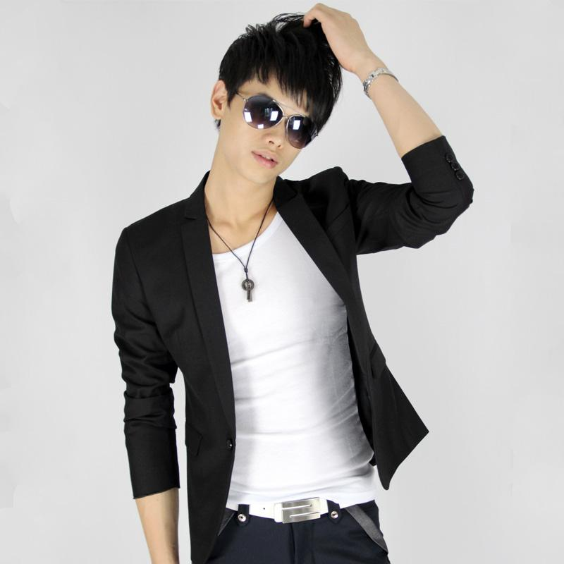 free shipping 2012 men's clothing outerwear male short design suit slim blazer slim suit male(China (Mainland))