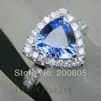 Vintage Solid 18k White Gold Full Cut VS1 Diamond Natural Tanzanite Wedding Ring CT442 Jewelry Sets