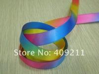 New arrival ! KLS30800 25mm double printed satin rainbow  ribbon +Free shipping ,hair bow,gift ribbon