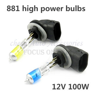 881 12V 100W Car Fog Bulb Xenon Gas Halogen Headlight Lamp bright Light bulbs white & yellow in free shipping
