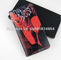 Free shipping 2013 New Fashion Personality Genuine Leather wallet with The graffiti printing art
