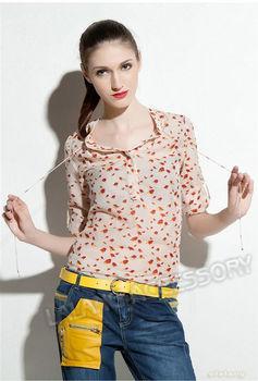 1piece/lot M/L New Wholesale Chiffon Bird Print Stylish Long Full Sleeve Lady Women Blouse Tops Sexy Slim Shirts 651088