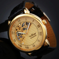 SG post or HK post 2013 NEW Man Elegant Gold Men Wind-up Mechanical Skeleton Men's Gift Wrist Man's Watch US Free Shipping