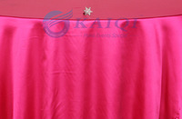 "6pcs hot pink  shiny satin overlay 120""round wedding party banquet decoration"
