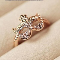 Fashion Korean Super Junior Opera Rhinestone Mask Rings 6pcs/Lot Z-Q312A Free Shipping
