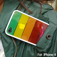 Free shipping Rainbow design silicone case coveer For iphone4 4s, Japanese korean style high quality case,10pcs per lot