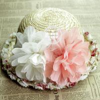 2012 hot-selling baby child strawhat summer hats big flower beach hats em52
