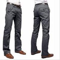 2014 hot sale new fashion casual pants men 100% cotton slim trousers 4 colors (black gray coffee khaki)