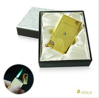 The metal touch sensing gas electronic lighter white steel creative Slim windproof straight lighter