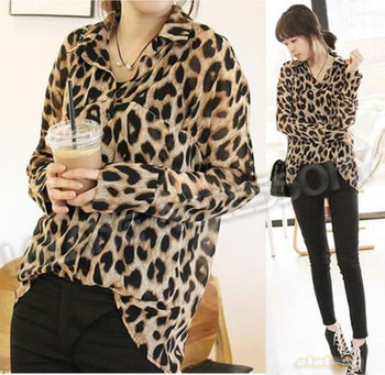 1piece/lot  Free Shipping Lady Women Chiffon Stylish Leopard Brown Long Full Sleeve Loose Blouse Tops Sexy Slim Shirts 650952