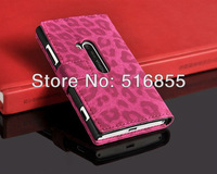 DHL freeshipping 100pcs/lot  Newest Leopard Wallet Leather stand case with card holder for Nokia Lumia 920 ,4 colors