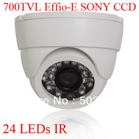 Indoor 24 LEDs IR 700TVL 1/3 Sony Effio CCD Security Surveillance Dome CCTV Camera