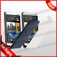 For HTC One Flip cover leather, New Flip case Genuine Leather Case For HTC One M7 by DHL shipping