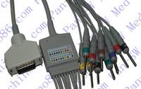 Fukuta one piece 10-lead ECG cable with leadwire  , Compatibile FCP-7411, FX-7402, FX-7202, FX-2111,FX-2155, FX-3010, FX-7102
