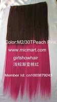 multi-color hairpieces,clip in hairpieces,clip on synthetic hair extension,clip in wig,1pc,130grams,M2/30TPeach Pink,24inches