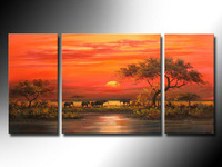Sunset the African grasslands oasis landscape pictures, elephant theme, hand painting, abstract decorative wall art