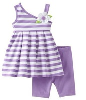 2013 New,free shipping, Baby girl summer clothing set 100%cotton Girl&#39;s shoulder harness stripe (tops + pants ) children clothes