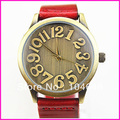 Free shipping dhl/fed ex+nostalgic large dial unisex watches genuine leather watch fashion digital watch 100pcs/lot