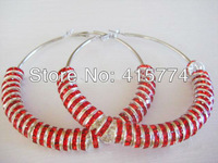 Basketball Wives Earring Poparazzi 8mm Red Czech Glass Crystal Rhinestone Beads 70mm Silver Plated Huge Hoop Earring