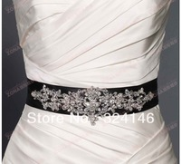 Free shipping new arrival extravagant silk fabrics handmade crystal and pearl bridal belt wedding dress accessiroes