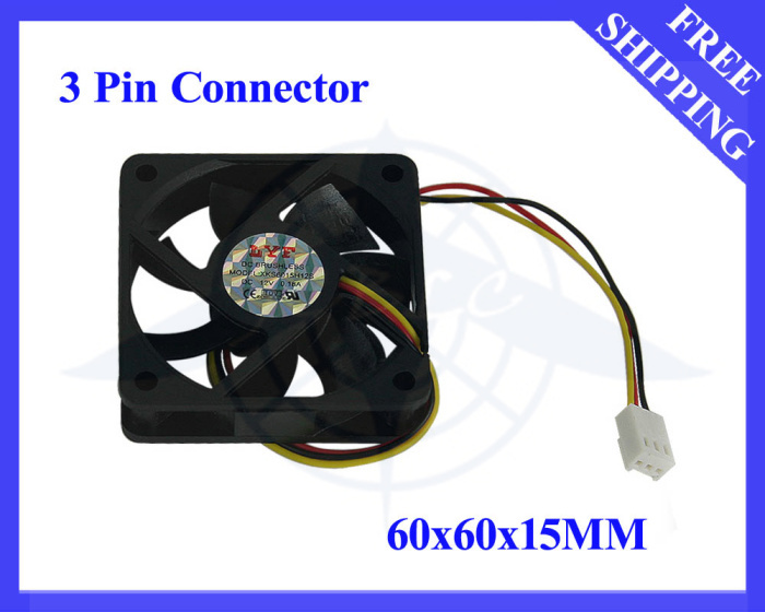 FREE SHIPPING BRUSHLESS DC COOLING FAN 7 BLADE 12V 6015 3PIN CONNECTOR BLACK #DN012# 30PCS/LOT(China (Mainland))