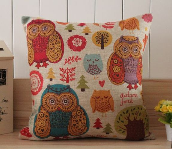 Free shipping Happy Night Owl in Autumn Forest Cotton Linen Cushion Cover Pillow Cover 45x45CM 2pcs/lot JL036(China (Mainland))