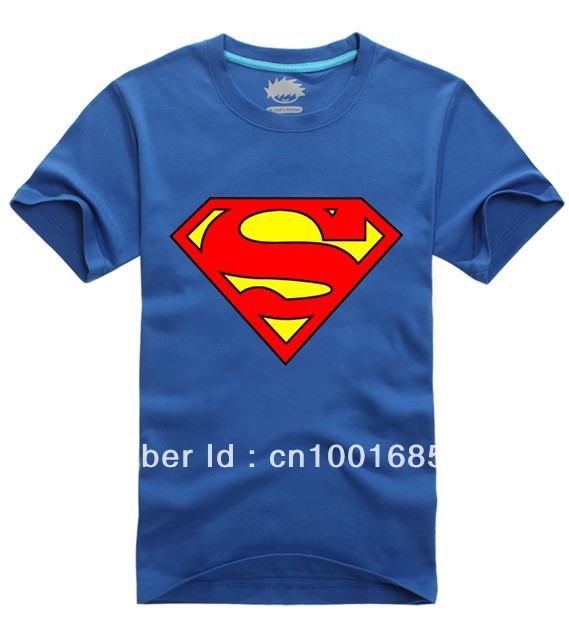 Wholesale Chinese style 2013 fashion adult men's festival best gift superman clothes leisure summer sport t shirt +free shipping(China (Mainland))