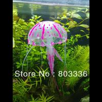 Free Shipping Glowing Effect Artificial Jellyfish for Aquarium Fish Tank Ornament - Fuchsia