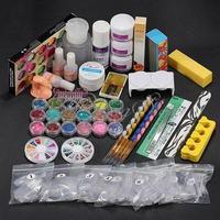 36 Acrylic Powder Liquid Brush Glitter Primer File UV Glue Nail Art Tip Set Kits