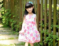 1pcs/lot Girls  2013 Tong cotton printing fake dream flower pink girl dress free shipping