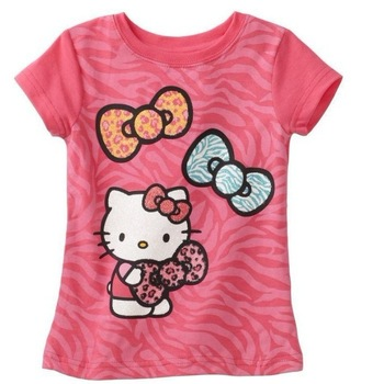 HOT,baby clothing 5 pcs/lot hello kitty girls T Shirt Kids Children Tops Summer Wear fashion Short Sleeve Clothing red /purple