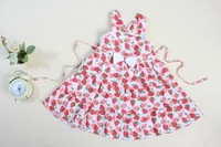 1pcs/lot Girls  2013 Tong cotton printing fake 100%cotton lovely 2-11year  girl dress free shipping