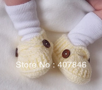 Baby crochet loafers infant first walker shoes handmade shoes cross button 14pairs/lot cotton yarn custom