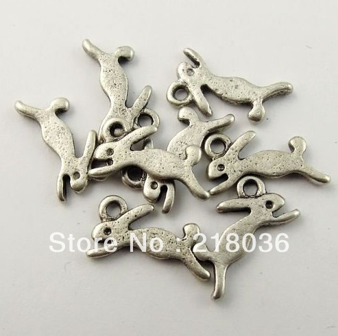 130Pcs Antiqued Silver Tone Vintage Alloy Cute Running Rabbit Pendant Charm 13x7mm A1082(China (Mainland))