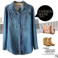 2014 Spring European Style Women's Polka Dot Long Sleeve Denim Blouse Free Shipping Wholesale Women Clothes YC-B31196-X94