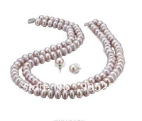 "AAA 6-7mm Culture Freshwater Pearl Necklace Discount 30% (18"")&Earring Jewelry Set(1Set)+Wholesale&Retail+Free Shipping"