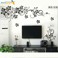 2013New Design Hot Selling/Big Black Flowers/Vinyl Wall Decals :80*130cm/Waterpoof Wall Sticker 027